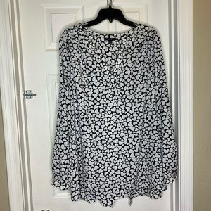 Lane Bryant Black and White Hearts Top